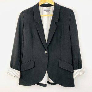 VINCE Black Single Distressed Button Blazer